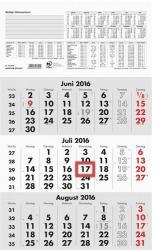 Zettler 3-Monatswandkalender 2016, 29,5x49,0cm, grau/weiß